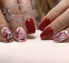 Фотографии Marina Design White Nail Designs, Pretty Nail Designs, Nail Art Designs, Sassy Nails, Red Nails, Cute Nails, Lynn Nails, Nail Art Fleur, Vintage Nails