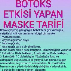 Botox Effect Mask Recipe - .- Botoks Etkisi Yapan Maske Tarifi – Botox Effect Mask Recipe – the the the - Beauty Make Up, Beauty Care, Beauty Skin, Dermaroller, Short Hair Trends, Tips & Tricks, Face Skin Care, Homemade Skin Care, Beauty Secrets
