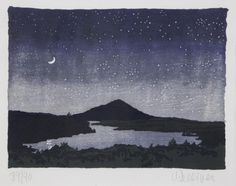 """""""Night Scene,"""" Neil Welliver, 1982, color woodcut, 8 x 10.5"""", private collection."""