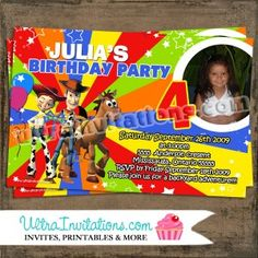 Toy Story 3 Invitations with your child photo with all the character gang. Toy Story Invitations, Birthday Party Invitations, Custom Invitations, Invites, Toy Story 3, Toy Story Birthday, Craft Ideas, Toys, Children
