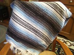 Vintage Mexican Fringed Blanket, Striped Cotton Blanket, Couch Throw by TeresasTreasuresEtc on Etsy