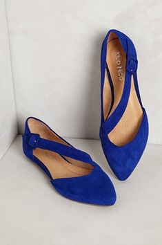 Luca Suede Flats in Sapphire