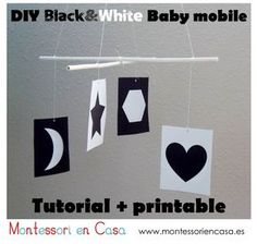 DIY b&w Montessori Munari mobile 0-6 weeks