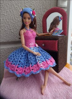 #Doll #Crochet #Vestido #Dress #Barbie #Chapéu #Hat #RaquelGaucha