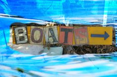 RUSTIC Nautical Tin & Wood Sign  BOATS by GlancesBackVintage