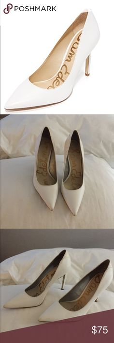 Sam Edelman Pumps Bright leather lends a polished look to these refined, pointed-toe Sam Edelman pumps. Covered stiletto heel. Synthetic sole. Sam Edelman Shoes Heels