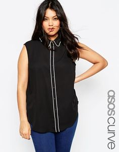 ASOS CURVE Sleeveless Blouse With Piping