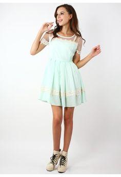 Dolly Floral Lace Trim Mint Dress - Dress - Retro, Indie and Unique Fashion