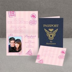 Every guest will need a passport to your romantic wedding, and this wedding invitation is perfect! The invitation resembles an actual passport on the wrap, but inside your photo and wording are revealed amid pink designs. Choose any imprint color and up to two lettering styles for your wording.  Four glue dots per invitation are included; assembly required.