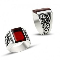 Turkish handmade anatolian unique artisan craft sterling silver ring with red enamel for mens or womens For you or as a gift comes with a gift card with envelope in a wooden box Metal: 925k sterling silver Weight: 16.23gr | 0.572oz Gemstone: Fire amber Style: Filigree Sterling Silver Jewelry, Silver Rings Handmade, Mens Silver Rings, Silver Rings With Stones, Mens Silver Necklace, Silver Ring Designs, Silver Pendant Necklace, Handmade Jewelry, Silver Earrings