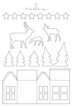 ides de dcorations de Nol en papier : une fort, des ours polaires, d. -Des ides de dcorations de Nol en papier : une fort, des ours polaires, d. - Wooden White Light Up Decorations Christmas LED Ornament Xmas Festive Tree Deer Christmas Paper, Christmas Home, Vintage Christmas, Christmas Holidays, Christmas Crafts, Christmas Decorations, Diy Natal, Christmas Templates, Glitter Houses