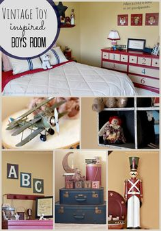 Love Of Family & Home: Vintage Toy Inspired Boys Bedroom
