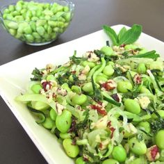 Edamame Tossed Zoodles with Honey Walnut Vinaigrette — Tasting Page Zucchini Pasta Recipes, Zucchini Noodles Salad, Pasta Noodles, Zucchini Zoodles, Squash Noodles, Spaghetti Recipes, Gourmet Recipes, Beef Recipes, Vegetarian Recipes