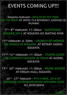 Hope you all had a great new year, and with 2016 BlabberCat is also growing. We are here with our favourite event listing of the month February which has events all over India. So if you are travelling to other states, you can to attend these events. #events #february #list #alloverindia #kolkata #mumbai #exhibition #fashion #blogger #food #business #corporate #health #valentine #meow