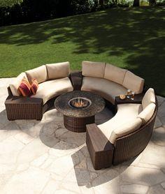 The circular fire pit allows for easy conversation when friends and family gather in the coordinating curved sectional pieces of the Contempo collection.  Wedge storage tables add function to this configuration while the Comfort Plush seating and extra wide arms provide extraordinary comfort. Questions or to order, email info@petersbilliards.com.