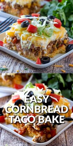 Mexican Dishes, Mexican Food Recipes, Beef Recipes, Dinner Recipes, Cooking Recipes, Taco Bake Recipes, Mexican Food For Party, Easy Taco Bake, Hamburger Recipes