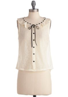 Cream Sleeveless Collared Blouse with Black Bow and Buttons