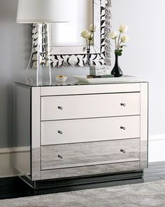 "Neiman Marcus, interior design, home decor, furniture, dressers, bedroom, mirrored furniture, mirrors, clear, ""Ryan"" Mirrored Chest"