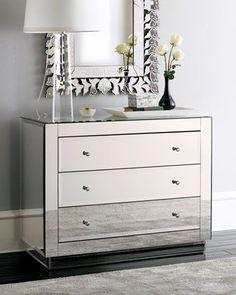 "Neiman Marcus, interior design, home decor, furniture, dressers, bedroom, mirrored furniture, mirrors, clear, ""Ryan"" Mirrored Chest"
