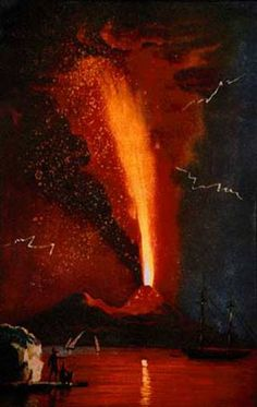 Vesuvius in eruption, August 1779. This eruption was produced a spectacular lava fountains rising several km above the summit, and devastating tephra falls northeast of the volcano. Note the large glowing bombs in the fallout! (Image from Alfano and Friedlaender, 1928, La storia del Vesuvio. Napoli: K Holm, 71p.)