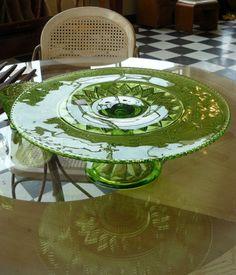Pressed Glass Cake Plate
