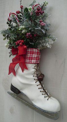 Christmas decor, Decorated Ice Skate, Christmas Ice skate , Wreath, Wall decor, Country Door decor