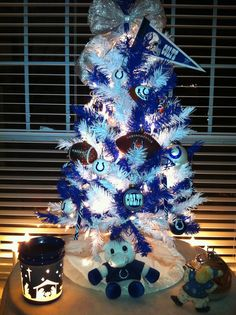 Colts themed Christmas tree hahaha too much? I think not! Christmas Tree Themes, Xmas Tree, Christmas Holidays, Christmas Ornaments, Holiday Decor, Holiday Ideas, Merry Christmas, Colts Memes, Colts Cheerleaders