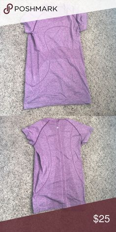 Lulu short sleeve swiftly top A little darker purple than pictured. Size tag removed but definitely a size 6. No flaws lululemon athletica Tops Tees - Short Sleeve