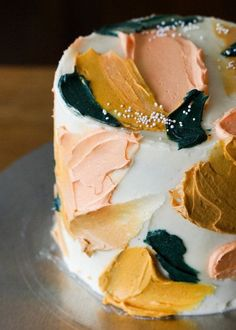 Abstract Painting Chocolate Cake — Eat Cho Food – Desserts World Think Food, Love Food, Pretty Cakes, Cute Cakes, Food Cakes, Cupcake Cakes, Fruit Cakes, Cake Recipes, Dessert Recipes