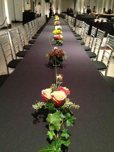 Dramatic table arrangement at UMMA in Ann Arbor, Michigan.   Simply Scrumptious Caterer, Gretchen Speidel Event Planner