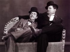"""Can you analyze it? All I know is how to make people laugh."""" ---Stan Laurel """"Ask Stan."""" ---Oliver Hardy Words like these, can only have been spo. Laurel And Hardy, Stan Laurel Oliver Hardy, Hollywood Stars, Classic Hollywood, Old Hollywood, Hollywood Icons, Great Comedies, Classic Comedies, Celebridades Fashion"""