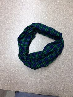 Green and Navy plaid flannel infinity scarf by mgnaffziger on Etsy