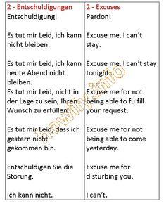 German For Beginners: Excuses in German German Grammar, German Words, German Language Learning, English Language, Learn German, Learn English, Study German, Deutsch Language, Eyeshadow Tutorial For Beginners