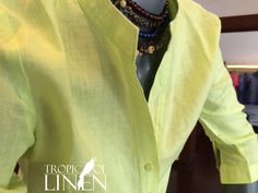 Lime linen ladies Tunic from TropicOfLinen Mandarin collar top with buttons at Tropic of Linen.