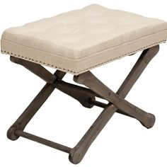 2 for dressing area; Carly Ottoman; tufted, nailhead, cream, linen look; $149; 24w 16d 20h