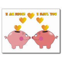 Funny Cartoon Pigs in Love Valentine Postcard