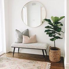Home Living Room, Living Room Designs, Living Room Decor Simple, Living Room Bench, Small Living Rooms, Hallway Designs, Hallway Ideas, Living Room Entrance Ideas, Small Entrance