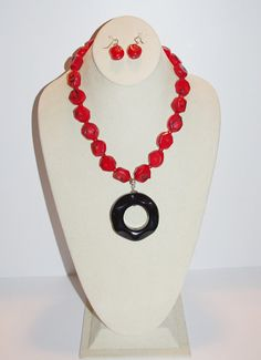 Sterling Coral Necklace with Onyx Pendant       by SCLadyDiJewelry