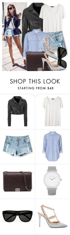 """""""How to: Wear denim short for spring"""" by vallle ❤ liked on Polyvore featuring Glamorous, The Row, Topshop, Chanel, Larsson & Jennings, Yves Saint Laurent and Valentino"""