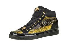 Mauri - Style: 8878  BENGALA  Suede / Patent Leather Black - Ostrich Leg Bengala
