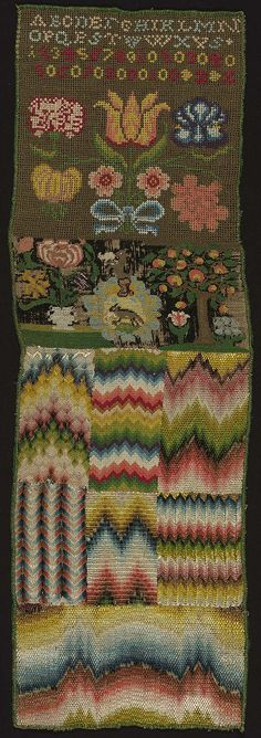 Across the top the alphabet and numbers. Below, various flowers, a rectangle bearing animals, a tree and blossoms. The lower half divided into rectangular areas bearing chevron motifs worked in various stitches. Polychrome silk yarns on linen ground. Condition good; black rotted out in spots. Stitches: Florentine, rococo, tent, two-sided Italian cross, upright gobelin, slantinggobelin.