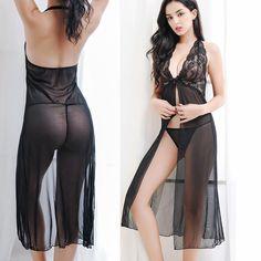 3d821f02d2 2 Piece Lingerie Women Sexy Underwear Sleepwear Lace Dress G-string Set