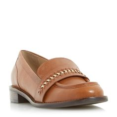 DUNE LADIES GERARD - Stitch Detail Curb Chain Saddle Loafer Shoe - dark tan | Dune Shoes Online