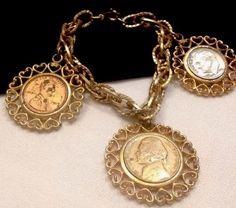 Vintage Signed WLP Gold Coin Charm Bracelet | eBay