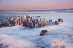 Sydney covered with thick winter fog, NSW