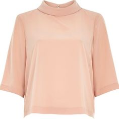 River Island Peach pink high neck t-shirt ($56) ❤ liked on Polyvore featuring tops, t-shirts, pink, roll neck tops, women, boxy tee, red t shirt, high neck top, pink t shirt y peach t shirt