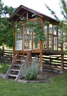 "La Maison Boheme: Spirit House Made With Recycled Windows, ""greenhouse"" Outdoor Sheds, Outdoor Rooms, Outdoor Living, Outdoor Screens, Outdoor Office, Outdoor Patios, Shed Design, Garden Design, Roof Design"