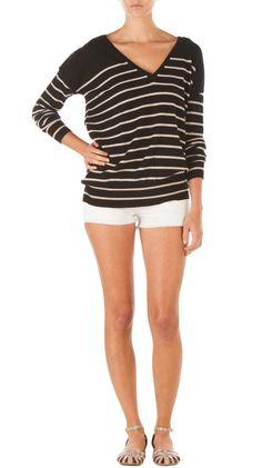 Stripe Boyfriend V-Neck - Black/Sand by Seaton ($170)