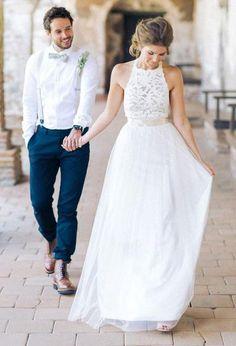 Simple Jewel Sleeveless Chiffon Lace Top Wedding Dress, Tulle Beach Wedding Dress with belt