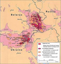Radiation hotspots resulting from the Chernobyl nuclear plant accident.